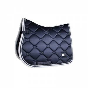 Equestrian Stockholm Midnight Blue White Edge Saddle Pad - Jump - Jump